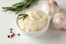 Bowl Of Garlic Sauce, Ingredie...