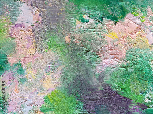 Fototapety, obrazy: Abstract oil painting wallpaper with brush strokes texture on canvas. Artistic background.