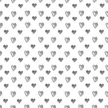 Black White Hearts Doodle