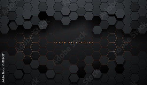 Hexagonal abstract metal background with light