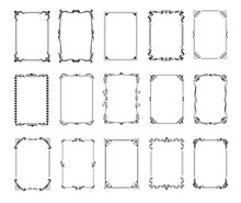 Decorative Vintage Frames And Borders Set. Retro Ornamental Rectangle Frame Collection, Wedding Ornate Deco Templates, Antique Borders Vector Icons
