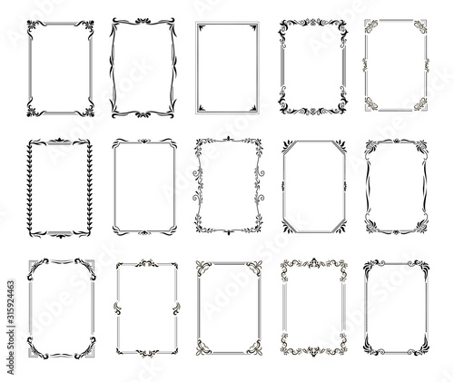 Obraz na plátne Decorative vintage frames and borders set