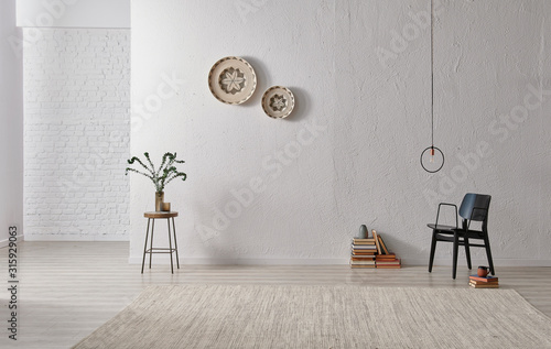 Grey stone wall, white brick background, interior style, chair lamp and object.