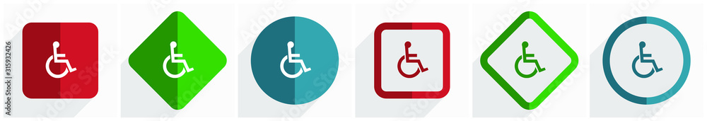 Fototapeta Wheelchair icon set, flat design vector illustration in 6 options for webdesign and mobile applications in eps 10