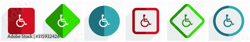 Photo Wheelchair icon set, flat design vector illustration in 6 options for webdesign