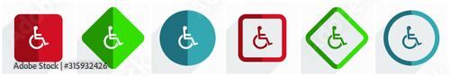 Valokuva Wheelchair icon set, flat design vector illustration in 6 options for webdesign