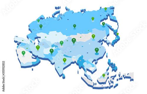 Mappa 3d dell'Asia con pin gps - illustrazione vettoriale Canvas Print