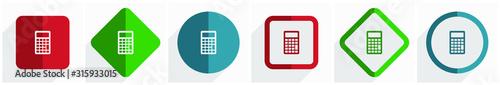 Fotomural Calculator icon set, flat design vector illustration in 6 options for webdesign
