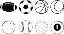 Sports Ball Equipment On White...