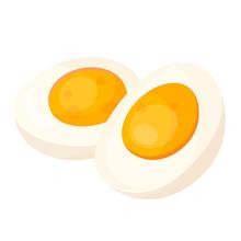 Hard Boiled Egg Halves Flat Ve...