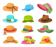 Female And Male Summer Hats Fl...
