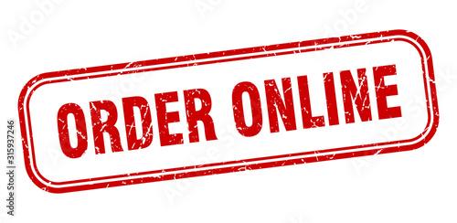 Fototapeta order online stamp. order online square grunge red sign obraz