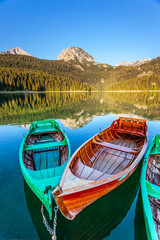 Fototapeta Rzeki i Jeziora Beautiful view of Black lake on sunny day. Location National park Durmitor, Montenegro, Europe.