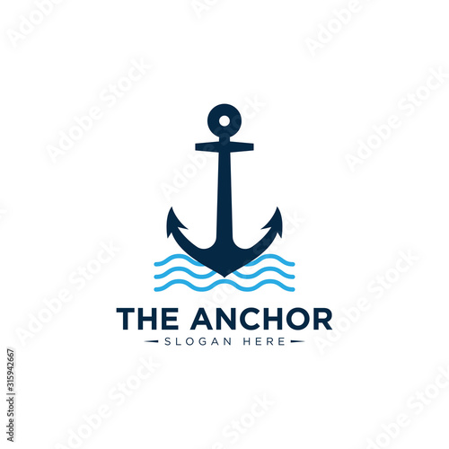 Photo marine retro emblems logo with anchor , anchor logo - vector