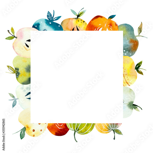 Square frame from decorative apples. Watercolor hand drawn illustration. - 315942865