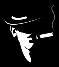 Silhouette Of Man With Hat And Cigar Chikago Gangster Mafia