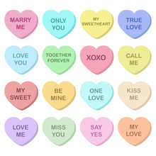 Vector Collection Of Colored Valentines Hearts On White Background