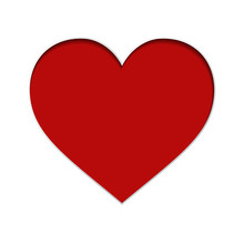 Vector Red Paper Heart On Whit...