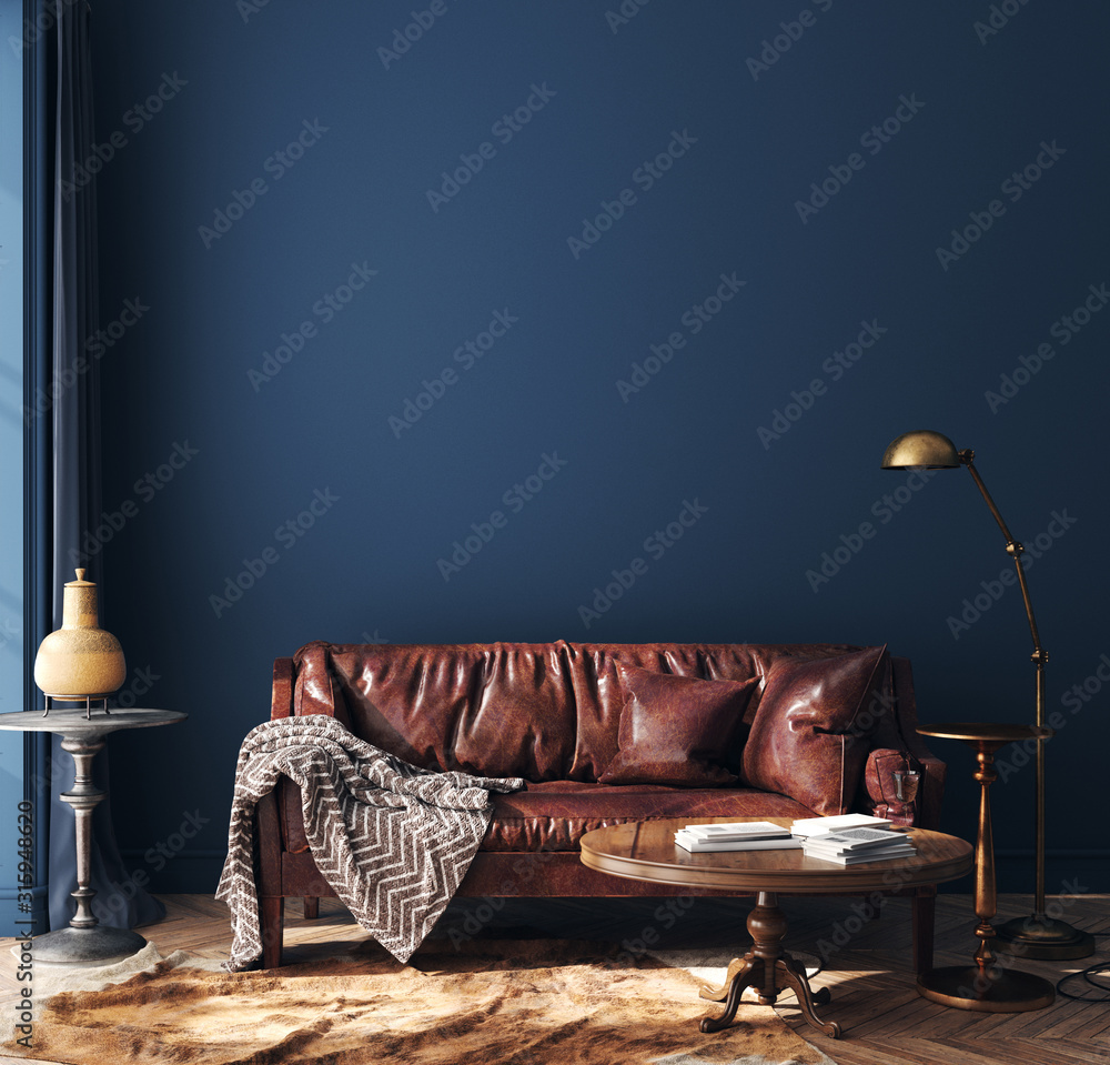 Fototapeta Dark blue home interior with old retro furniture, hipster style, 3d render