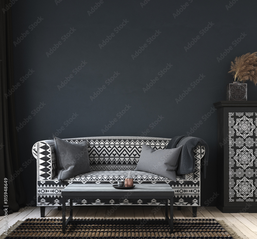 Fototapeta Dark home interior, ethnic style living room, wall mock up background, 3d render
