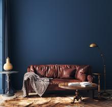 Dark Blue Home Interior With O...