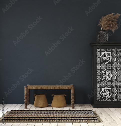 Obraz Dark home interior, ethnic style living room, wall mock up background, 3d render - fototapety do salonu