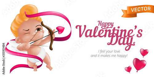 Photo Happy Valentine's Day web banner or flyer with baby cupid and bow, pink ribbon and 3D hearts