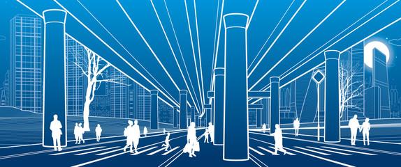 People walk under the car overpass. Large highway. Modern night town. Outline Urban scene. Big bridge. Industrial illustration. White lines on blue background. Vector design art