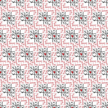 Vector Tic Tac Toe In Red And Black On White Background Seamless Repeat Pattern. Background For Textiles, Cards, Manufacturing, Wallpapers, Print, Gift Wrap And Scrapbooking.