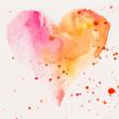 Leinwandbild Motiv Watercolor painted pink heart, on the white watercolor paper.