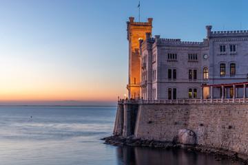 triest miramare castle at sunset