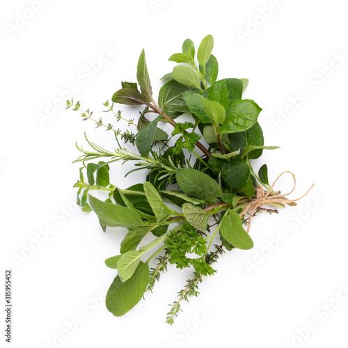 Fototapeta Spice herbal leaves and chili pepper on white background. Vegetables pattern. Floral and vegetables on white background. Top view, flat lay. obraz