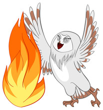 White Barn Owl With Fire In Cartoon Vector Isolated Background