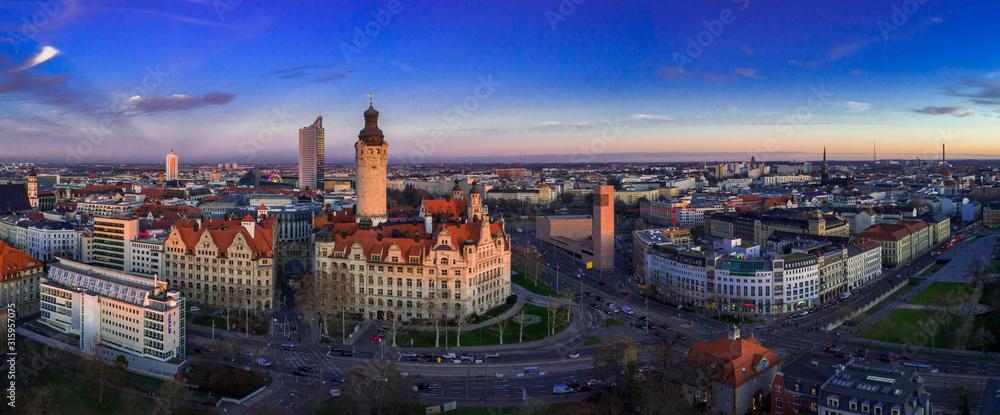 Fototapeta Leipzig Panorama, Leipzig Rathaus