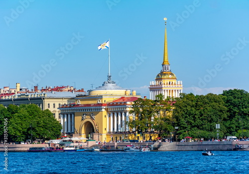 Admiralty building and Neva river, Saint Petersburg, Russia Canvas Print