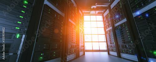 Fotografía Server units in cloud service data center showing flickering light indicators for massive data connection bandwidth, close up shot