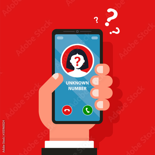 an unfamiliar mobile number is ringing on the phone Fototapeta