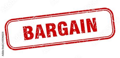 bargain stamp. bargain square grunge red sign Canvas Print