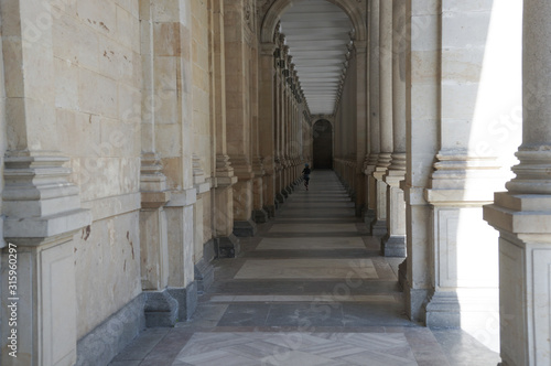 Down the mill colonnade in Karlovy Vary with pillars Canvas Print
