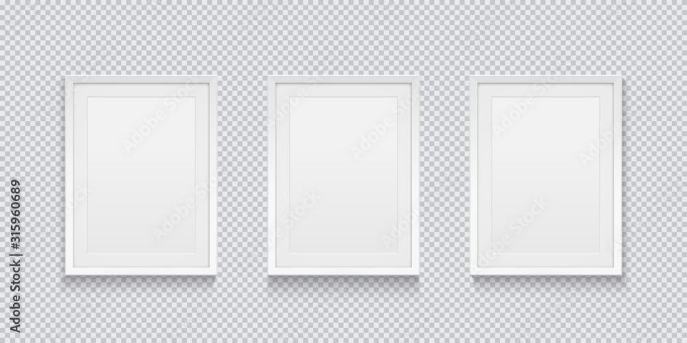 Fototapeta Three realistic white picture or photo frame isolated on transparent background. Vector illustration.