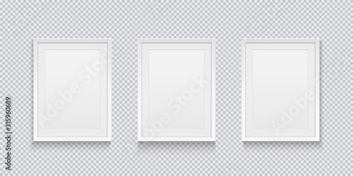 Obraz Three realistic white picture or photo frame isolated on transparent background. Vector illustration. - fototapety do salonu