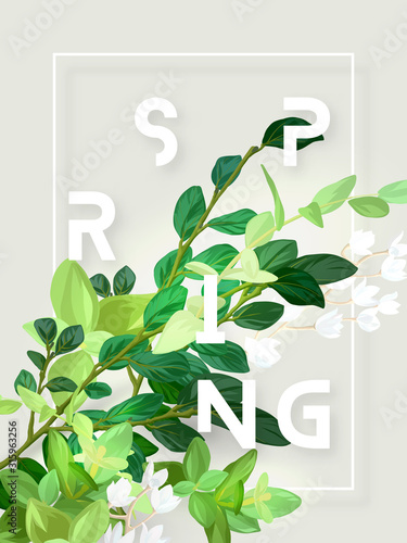 Fototapeta Spring floral eco design with white lily flowers, green leaves, succulent plants and integrated 3d typography. Vector template for poster, flyer, banner or card. Illustrated nature background. obraz