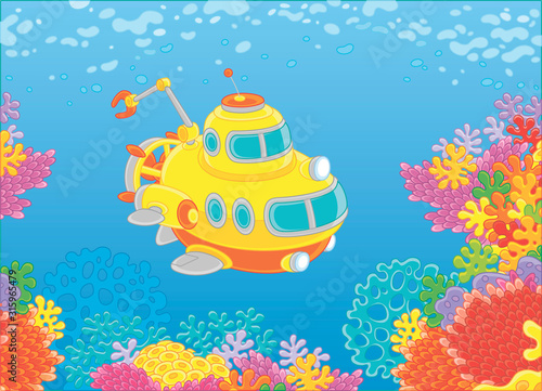 Exploratory deep-sea bathyscaphe with a manipulator swimming over colorful coral Wallpaper Mural