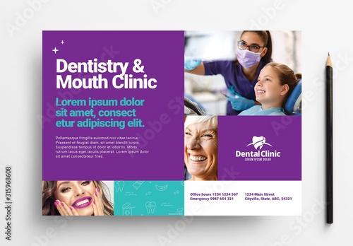 Fototapeta Dentist Flyer Layout for Dental Clinics obraz