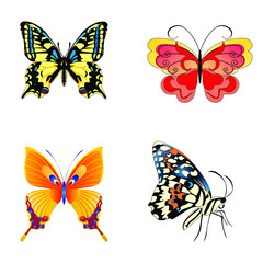 Colorful Butterfly, Set of beautiful butterfly with wings, Abstract Wings Color, Abstract animal color pack, isolation butterfly object illustration. Vector