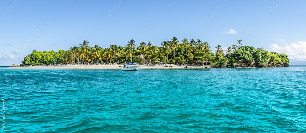 Fototapeta Cayo Levantado, Samana Bay, Dominican Republic. Panoramic view of Caribbean Islet with coconut palm trees and white sand beach.