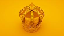 Royal Gold Crown On Yellow Bac...