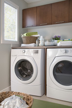 Energy Efficient Washer And Dryer In Laundry Room.