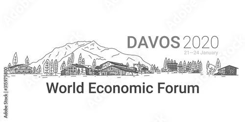 Photo Banner written Davos 2020, world economic forum.