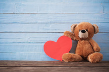 Teddy Bear With Red Heart On O...